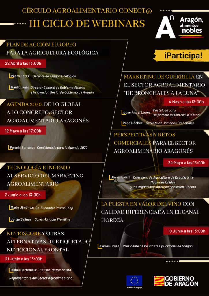 INFOGRAFIA WEBINARS CIRCULO AGROALIMENTARIO ARAGON ALIMENTOS NOBLES